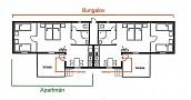 Bungalovy pri Mlyne - Pôdorys apartmánov